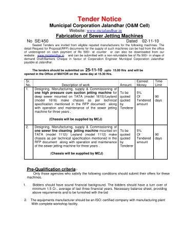 Tender Notice - Municipal Corporation Jalandhar