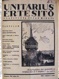 1944. május - Unitárius tudás-tár
