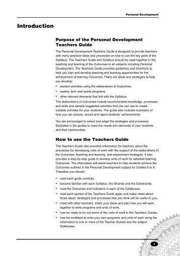 Personal Development Syllabus - Upper Primary - Teachers Guide