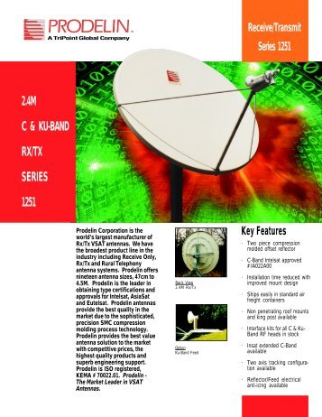 Prodelin Series 1251 2.4M C & Ku-Band Rx/Tx Antenna