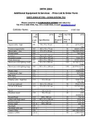 IMTM 2004 Additional Equipment & Services - Price List ... - Ortra