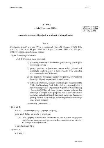 USTAWA z dnia 29 czerwca 2000 r. o zmianie ustawy o obligacjach ...