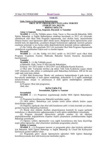 okul sütü programı uygulama tebliği - Edirne Milli Eğitim Müdürlüğü