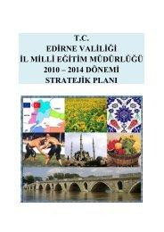 Stratejik Plan - Edirne Milli Eğitim Müdürlüğü - Milli Eğitim Bakanlığı