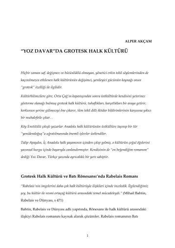 """""""YOZ DAVAR""""DA GROTESK HALK KÜLTÜRÜ - alperakcam.com"""