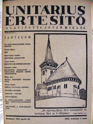 1944. április - Unitárius tudás-tár