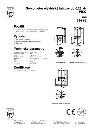 Servomotor elektrický táhlový do 0,25 kN PIKO 524 65 - MaR TRADE
