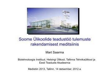 Soome Ülikoolide teadustöö tulemuste rakendamisest meditsiinis