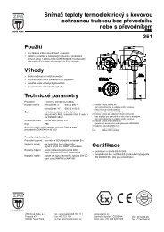 Použití Výhody Technické parametry Snímač teploty ... - MaR TRADE