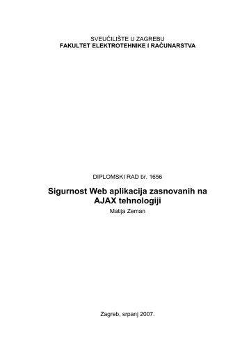 Sigurnost Web aplikacija zasnovanih na AJAX ... - Tutoriali.org