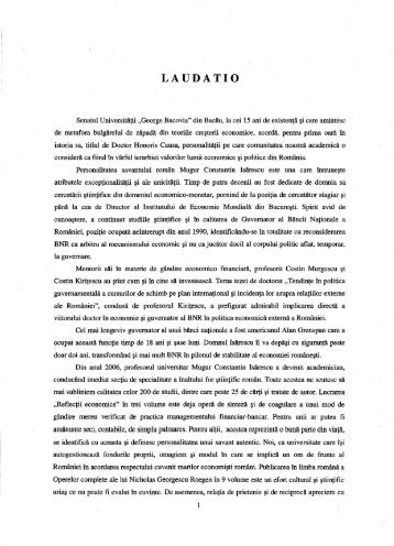 LAUDATIO - Universitatea George Bacovia