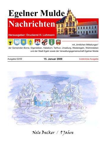 Egelner Nachrichten Januar 2009 - Teil 2 PDF ... - Druckerei Lohmann