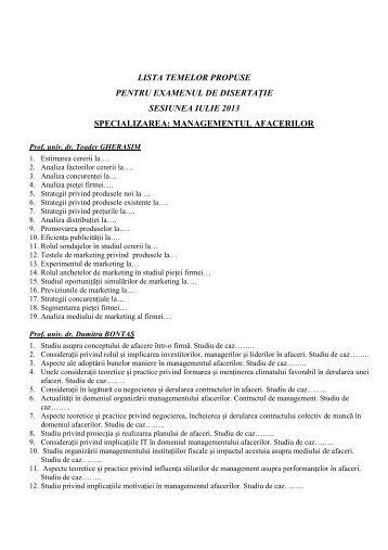Tematica disertatie MNA 2013