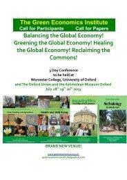 The Green Economics Institute Balancing the Global ... - Chichilnisky