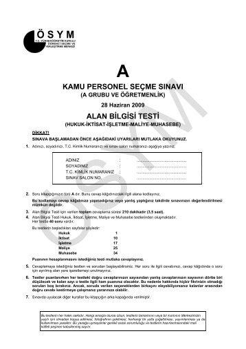 kamu personel seçme sınavı alan bilgisi testi