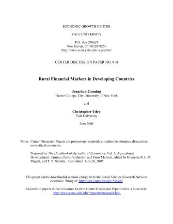 Rural Financial Markets in Developing Countries - Department of ...