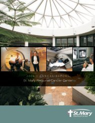 Cancer Center Annual Report 2006 - St. Mary Medical Center
