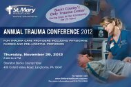 AnnuAl TrAumA ConferenCe 2012 - St. Mary Medical Center