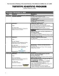 TENTATIVE SCIENTIFIC PROGRAM - Ortra
