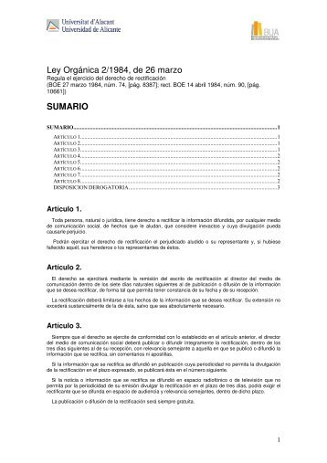 Ley Orgánica 2/1984, de 26 marzo SUMARIO - Biblioteca UA
