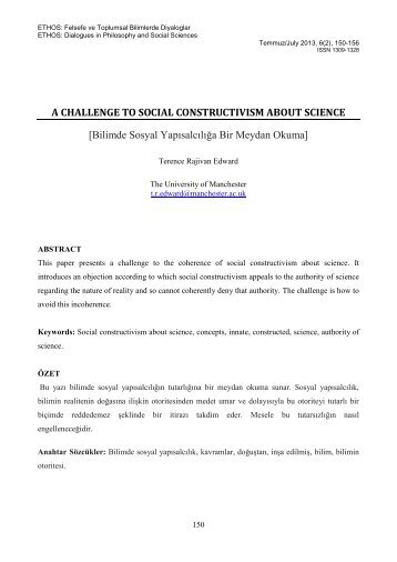 A Challenge to Social Constructivism about Science - ETHOS: Felsefe