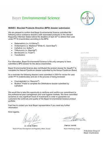 BPD Letter - Bayer CropScience