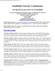 10-11-12 Veterans Events in the Metro Detroit ... - City of Southfield