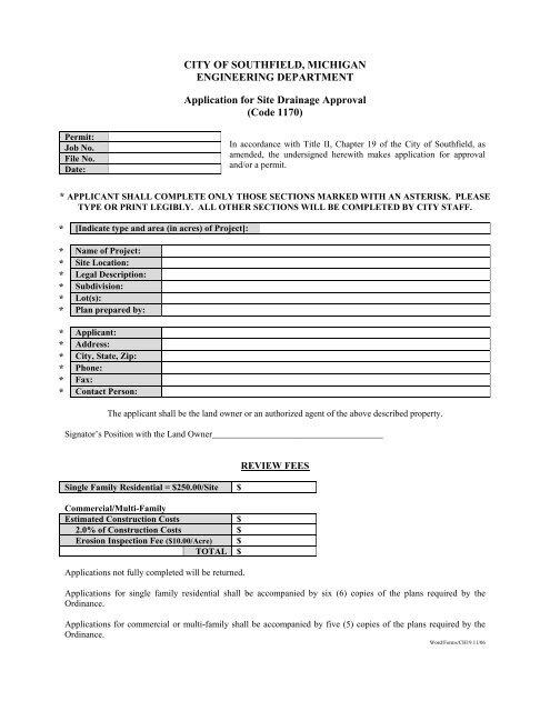 Chapter 19 Application Form (pdf) - City of Southfield