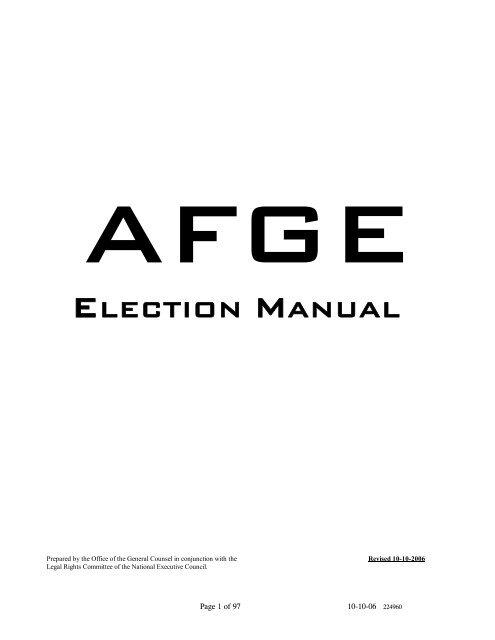 ELECTION MANUAL - AFGE Local 2782
