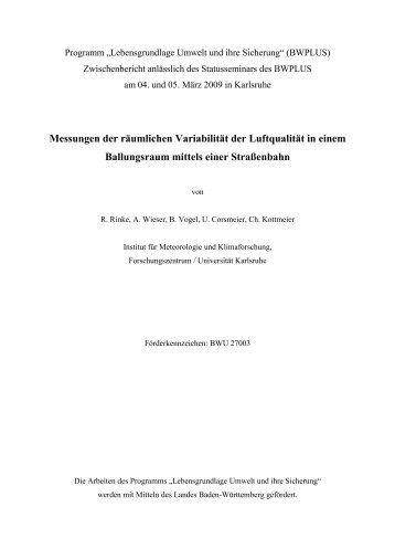 Messungen der räumlichen Variabilität der Luftqualität in ... - IMK-TRO
