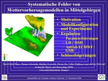 Systematische Fehler von Wettervorhersagemodellen in ... - IMK-TRO