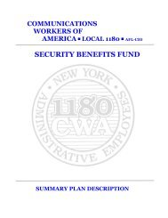 SBF Summary Plan Handbook - CWA Local 1180