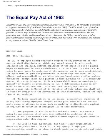 equal pay act of 1963 an This material discusses the protections afforded individuals under the equal pay act of 1963.