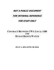 Human Rights Watch, Inc. & CWA Local 1180