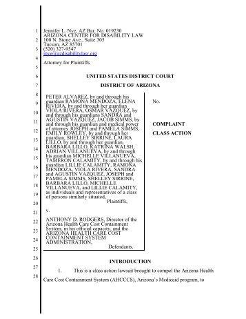 Alvarez v. Rodgers Class Action Lawsuit - Arizona Center for ...