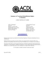 Summary of Vocational Rehabilitation Rights: Evaluations