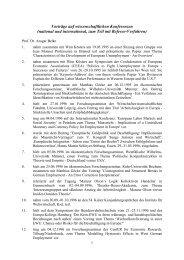 Vorträge auf wissenschaftlichen Konferenzen (national und ...