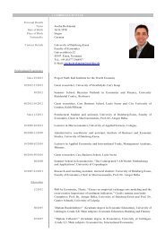 CURRICULUM VITAE Personal Details Name Joscha Beckmann ...