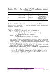 Soccer Rules of play for SouthWest Illinois Soccer league