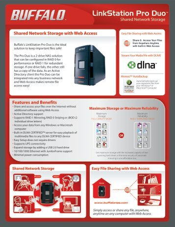Shared Network Storage with Web Access Features and Benefits