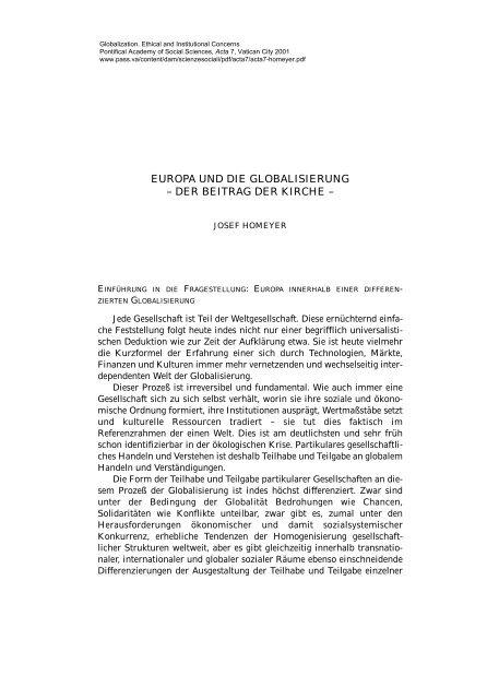europa und die globalisierung - Pontifical Academy of Social Sciences