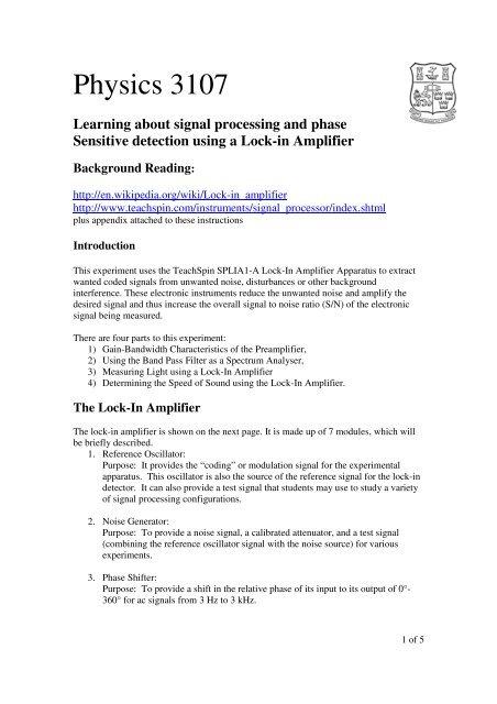 PY3107 - Lock-in Lab pdf