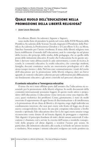 Quale ruolo dell'educazione nella promozione della libertà religiosa?