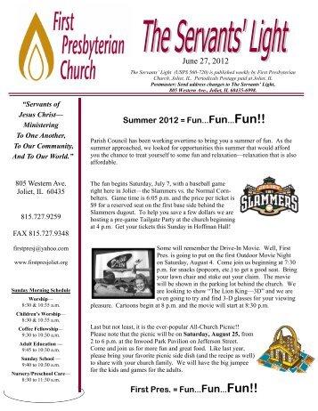 June 27, 2012 Summer 2012 = Fun...Fun...Fun!! - First Presbyterian ...