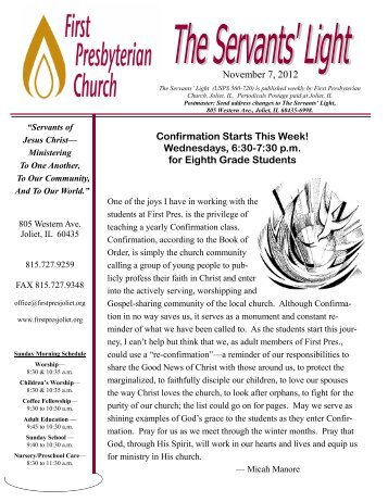 November 7, 2012 Confirmation Starts This Week! - First ...