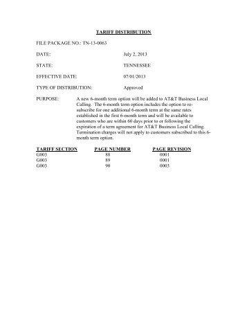 TN-13-0063 - Tariffs - AT&T