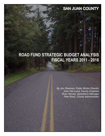 road fund strategic budget analysis fiscal years ... - San Juan County