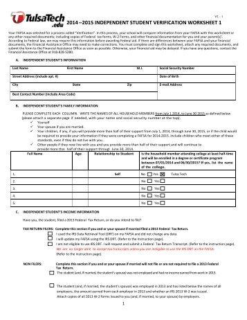 2013 - 2014 dependent student verification worksheet #1