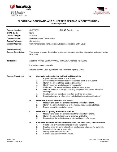 Electrical Schematic And Blueprint Reading In Construction Tulsa