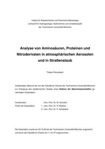 Analyse von Aminosäuren, Proteinen und Nitroderivaten in ...